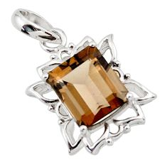 925 sterling silver 5.54cts brown smoky topaz pendant jewelry d45652