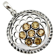 925 sterling silver 6.32cts brown smoky topaz round pendant jewelry c26360
