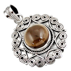 925 sterling silver 6.89cts brown smoky topaz round pendant jewelry d39137