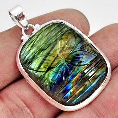 925 sterling silver 31.58cts carving natural blue labradorite pendant r29071