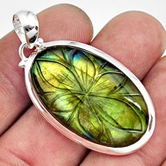 925 sterling silver 25.28cts carving natural blue labradorite pendant r29074