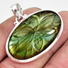 925 sterling silver 27.69cts carving natural blue labradorite pendant r29080