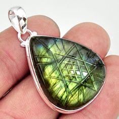 925 sterling silver 28.08cts carving natural blue labradorite pendant r29098