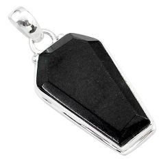 925 sterling silver 15.72cts coffin natural black onyx pendant jewelry r96984