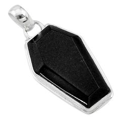 925 sterling silver 17.65cts coffin natural black onyx pendant jewelry t11718