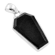 925 sterling silver 13.73cts coffin natural black onyx pendant jewelry t47918