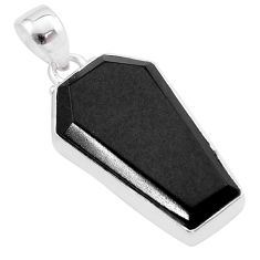 Clearance Sale- 925 sterling silver 14.23cts coffin natural black onyx pendant jewelry t48663