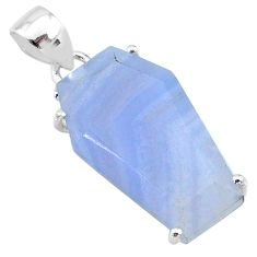 925 sterling silver 14.81cts coffin natural blue lace agate fancy pendant t11990