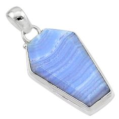 925 sterling silver 14.68cts coffin natural blue lace agate pendant t1051
