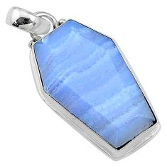 925 sterling silver 15.72cts coffin natural blue lace agate pendant t11707