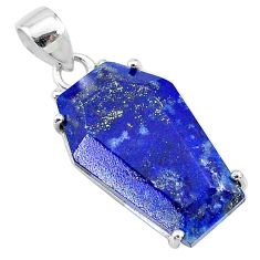 925 sterling silver 13.69cts coffin natural blue lapis lazuli pendant t12050