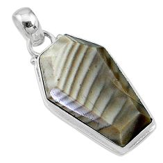 925 sterling silver 16.18cts coffin natural brown imperial jasper pendant t11810