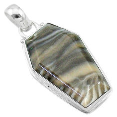 925 sterling silver 16.02cts coffin natural brown imperial jasper pendant t11815