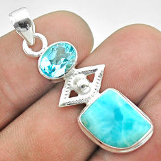 925 sterling silver 8.31cts eye charm natural blue larimar topaz pendant t56676