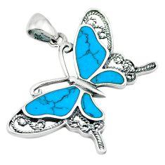 925 sterling silver fine blue turquoise enamel butterfly pendant a64495 c14931