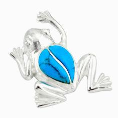925 sterling silver fine blue turquoise enamel frog pendant a64500 c14643