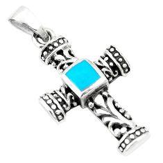 925 sterling silver fine blue turquoise enamel holy cross pendant c12490