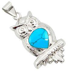 925 sterling silver 2.69gms fine blue turquoise enamel owl pendant c26354