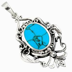 925 sterling silver 4.72cts fine blue turquoise oval pendant jewelry c26357