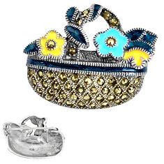 925 sterling silver 7.69gms fine marcasite enamel brooch pendant jewelry c15817