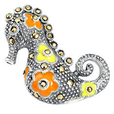 925 sterling silver 8.48gms fine marcasite enamel seahorse pendant c16606