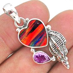 925 silver 4.42cts fine volcano aurora opal (lab) amethyst pendant t34451