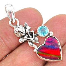 925 silver 3.83cts fine volcano aurora opal (lab) topaz angel pendant t34443