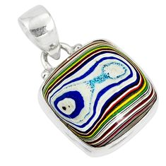 925 sterling silver 8.15cts fordite detroit agate cushion pendant r77918