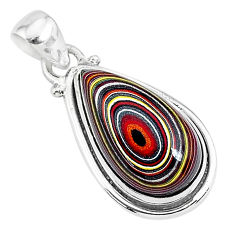 925 sterling silver 9.72cts fordite detroit agate handmade pendant r92778