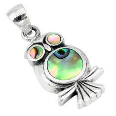 925 sterling silver green abalone paua seashell enamel owl pendant a55420 c14536
