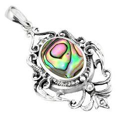 925 sterling silver 4.73cts green abalone paua seashell pendant a91869 c14760