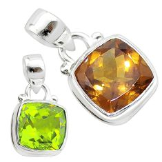 925 sterling silver 4.84cts green alexandrite (lab) cushion pendant t57110
