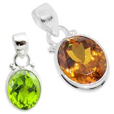 925 sterling silver 5.24cts green alexandrite (lab) oval pendant jewelry t57116