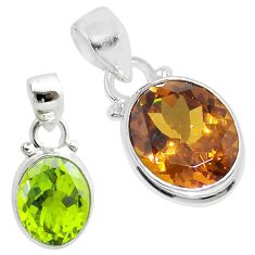 925 sterling silver 5.23cts green alexandrite (lab) oval pendant jewelry t57143
