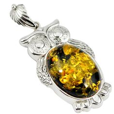 925 sterling silver green amber from colombia owl pendant jewelry c22572