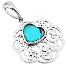 925 sterling silver 2.20cts green arizona mohave turquoise heart pendant c10859