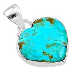 925 sterling silver 8.90cts green arizona mohave turquoise heart pendant t12984