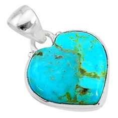 925 sterling silver 9.10cts green arizona mohave turquoise heart pendant t12992
