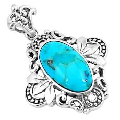 925 sterling silver 5.74cts green arizona mohave turquoise oval pendant c10782