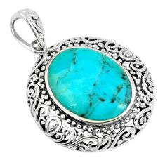 9.05cts green arizona mohave turquoise oval 925 sterling silver pendant c10815