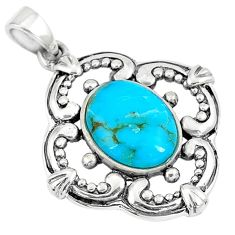 2.90cts green arizona mohave turquoise oval 925 sterling silver pendant c10885