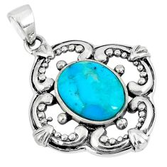 925 sterling silver 2.59cts green arizona mohave turquoise oval pendant c10899
