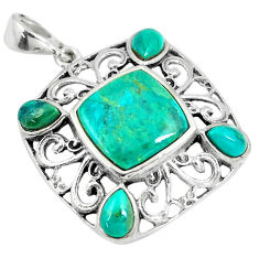 925 sterling silver 6.84cts green arizona mohave turquoise pendant c10788