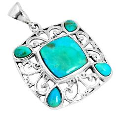 925 sterling silver 6.53cts green arizona mohave turquoise pendant c10795