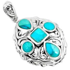 925 sterling silver 2.44cts green arizona mohave turquoise pendant c10850