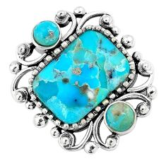 925 sterling silver 6.31cts green arizona mohave turquoise pendant c10864