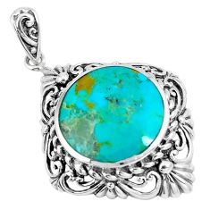 925 sterling silver 9.10cts green arizona mohave turquoise round pendant c10806