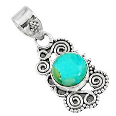925 sterling silver 3.03cts green arizona mohave turquoise round pendant r57707