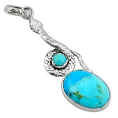 925 sterling silver 12.91cts green arizona mohave turquoise snake pendant d47267
