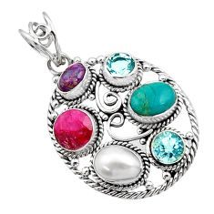 925 sterling silver 7.98cts green arizona mohave turquoise topaz pendant d44998